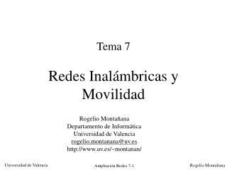 Tema 7 Redes Inalámbricas y Movilidad