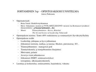 JOHTAMINEN 3sp  - OPINTOJAKSOSUUNNITELMA Antero Putkiranta
