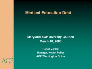 Medical Education Debt