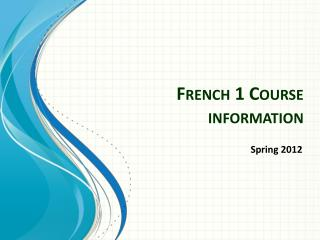 French 1 Course information