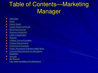 Table of Contents—Marketing Manager