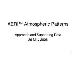 AERI �  Atmospheric Patterns