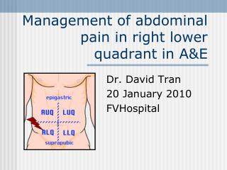 Management of abdominal pain in right lower quadrant in A&E