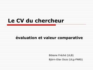 Le CV du chercheur