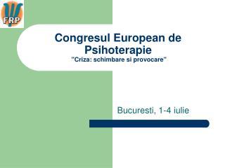 Congresul European de Psihoterapie