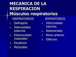 MECANICA DE LA RESPIRACION Músculos respiratorios