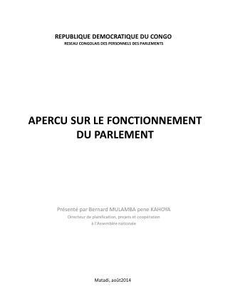 REPUBLIQUE DEMOCRATIQUE DU CONGO RESEAU CONGOLAIS DES PERSONNELS DES PARLEMENTS