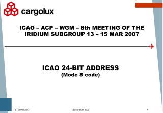 ICAO 24-BIT ADDRESS (Mode S code)