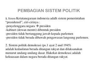 PEMBAGIAN SISTEM POLITIK