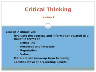 Critical Thinking Lesson 7