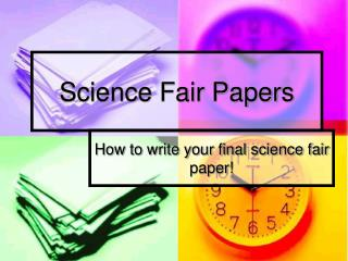 Science Fair Papers