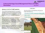 Cultural Heritage Asset Management Plans CHAMP Newsletter