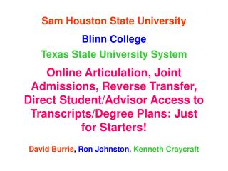 Sam Houston State University Blinn College Texas State University System