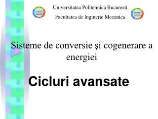 Sisteme de conversie şi  c ogenerare a energiei