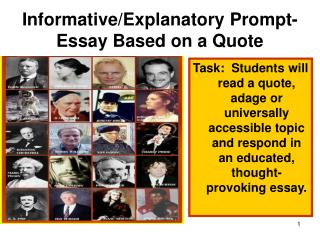 Informative/Explanatory Prompt-  Essay Based on a Quote