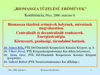 """""""BIOMASSZA TÜZELÉSŰ ERŐMŰVEK"""" Konferencia,  Pécs, 2006. március 9."""