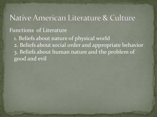 Native American Literature & Culture