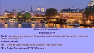 Mercredi  10  septembre Français III-IV