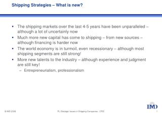 Shipping Strategies – What is new?