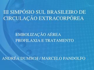 III SIMP�SIO SUL BRASILEIRO DE CIRCULA��O EXTRACORP�REA
