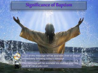 A CD of this message will be available (free of charge immediately following today's message