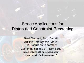 Space Applications for Distributed Constraint Reasoning