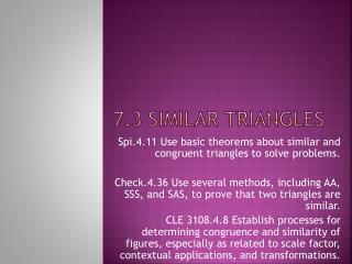 7.3 Similar Triangles