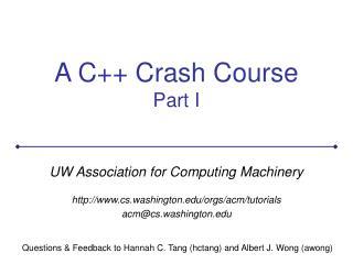 A C++ Crash Course Part I