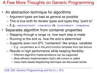 A Few More Thoughts on Generic Programming