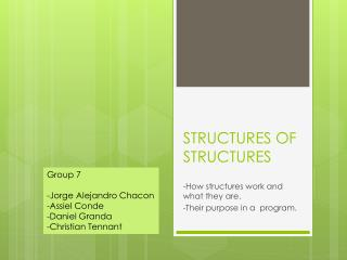 STRUCTURES OF STRUCTURES