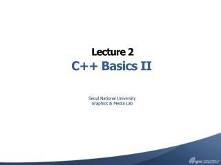 C++ Basics II