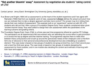 """Not another  bloomin ' essay""  Assessment by negotiation  aka  students' taking control of LTA?"
