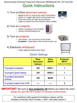 Electronically-enhanced Classroom (Numonics Whiteboard) Rm. 227 and 229 Quick Instructions