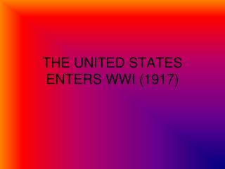 THE UNITED STATES ENTERS WWI (1917)