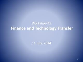 Workshop #3 Finance and  Technology Transfer