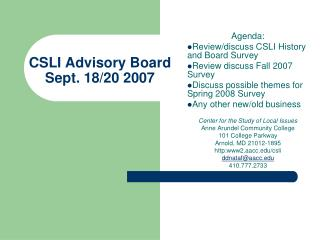 CSLI Advisory Board Sept. 18/20 2007