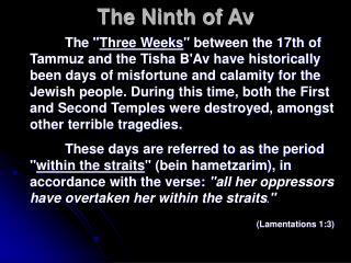 The Ninth of Av