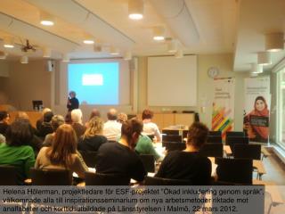 """Eva Thors presenterade det nya läromedlet """"ABC för vuxna"""" som är framtaget av SFI Eslöv."""