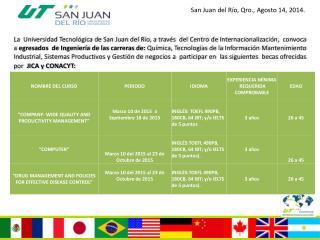 San Juan del Río, Qro., Agosto 14, 2014.
