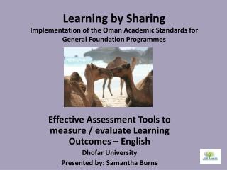Effective Assessment Tools to measure / evaluate Learning Outcomes – English Dhofar University