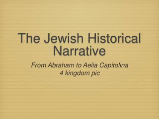 The Jewish Historical Narrative