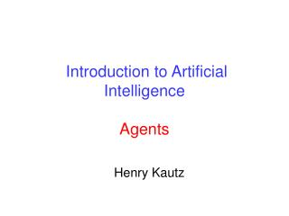 Introduction to Artificial Intelligence Agents