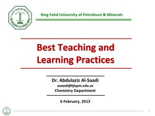 Best Teaching and Learning Practices