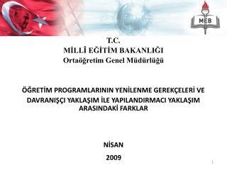 T.C. MİLLÎ EĞİTİM BAKANLIĞI Ortaöğretim Genel Müdürlüğü