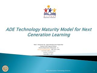 ADE Technology Maturity Model for Next Generation Learning