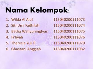 Nama Kelompok: