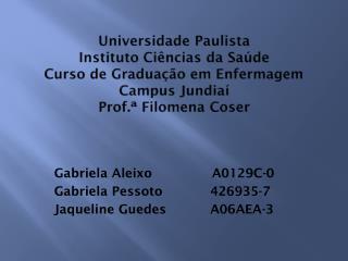 Gabriela  Aleixo                A0129C-0 Gabriela  Pessoto             426935-7