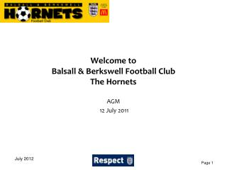 Welcome to Balsall & Berkswell Football Club The Hornets
