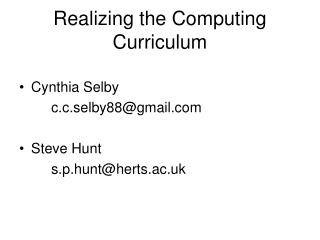 Realizing the Computing Curriculum