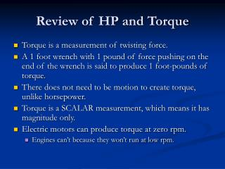 Review of HP and Torque